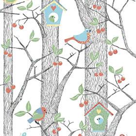 BoråsTapeter – Kinderzimmer Tapete – Cherry Friends – Blau