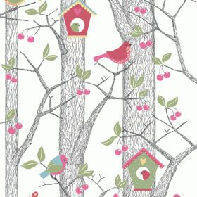 BoråsTapeter – Behang Kinderkamer – Cherry Friends – Red
