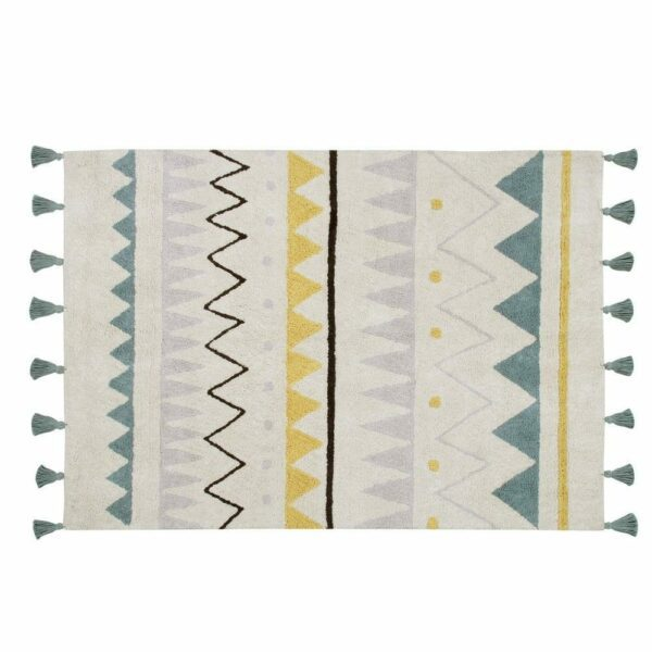 Lorena Canals - Washable Rug - Azteca Natural Vintage Blue - 2 sizes