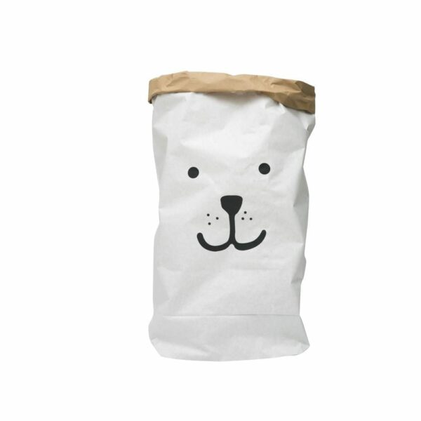 Tellkiddo - Toys Storage Bag, Paper - Bear Face