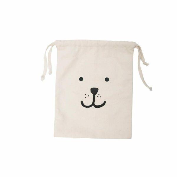Tellkiddo - Toys Storage Bag, Cotton - Bear Face