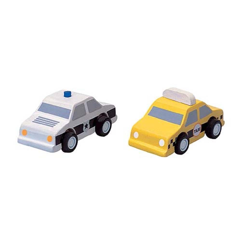 Plan Toys – City Taxi & Police Car