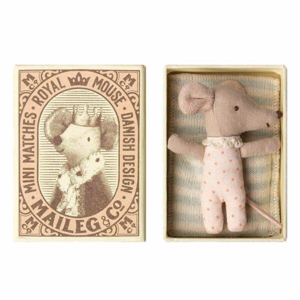 Maileg Baby Mouse Sleepy Wakey in Box Girl 16-8712-01