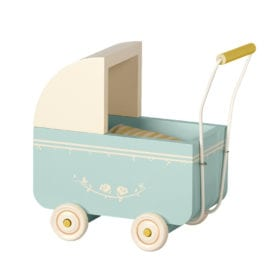 Maileg – Micro Pram – Blue – 17.5 cm