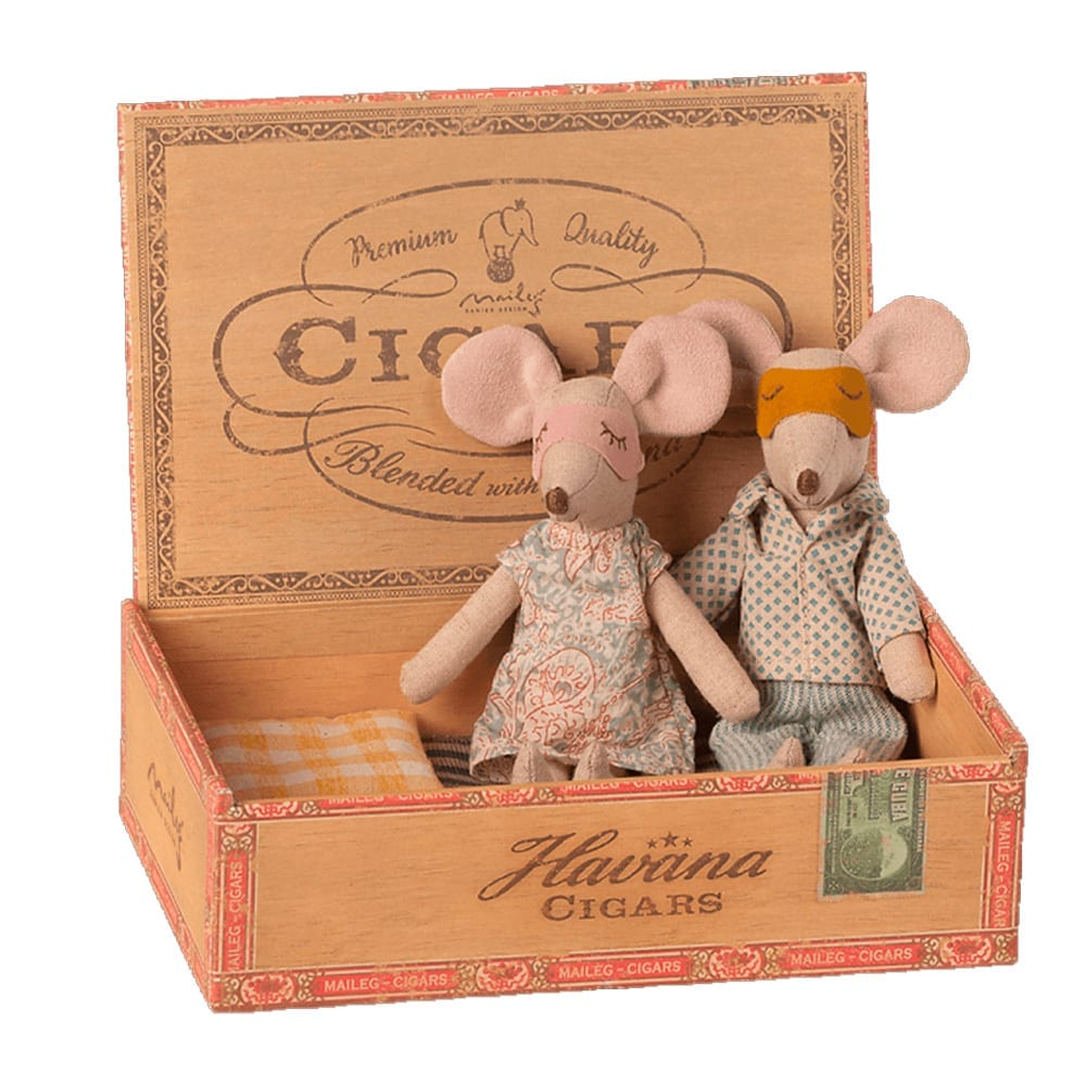 Mum & Dad Mice in Cigar Box