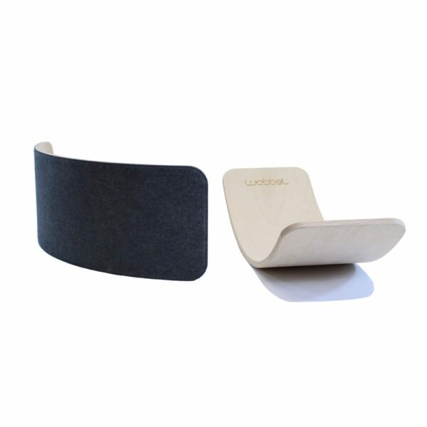 Wobbel PRO Balance Board, Whitewash and Transparent Lacquer, felt mouse