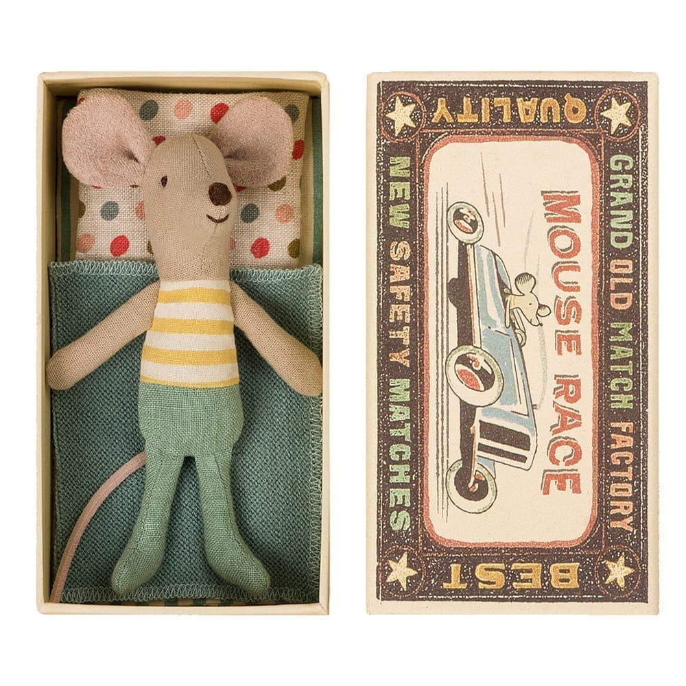 Maileg – Little Brother – Mouse in Matchbox – 10 cm