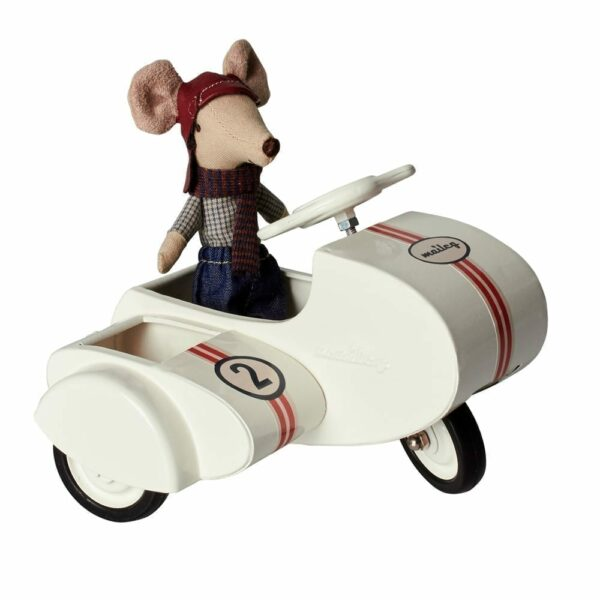 Maileg Metal Scooter w. Sidecar - White - 11 cm