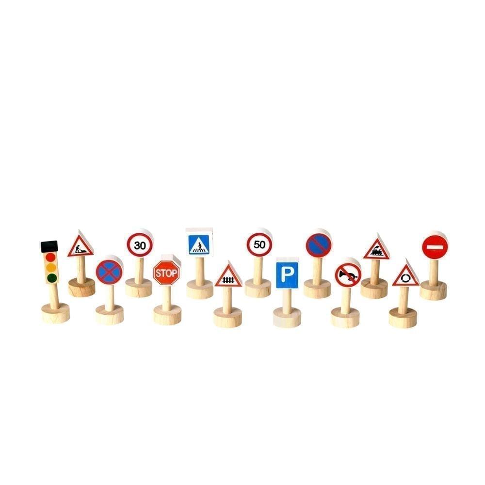 Set met verkeersborden en stoplichten