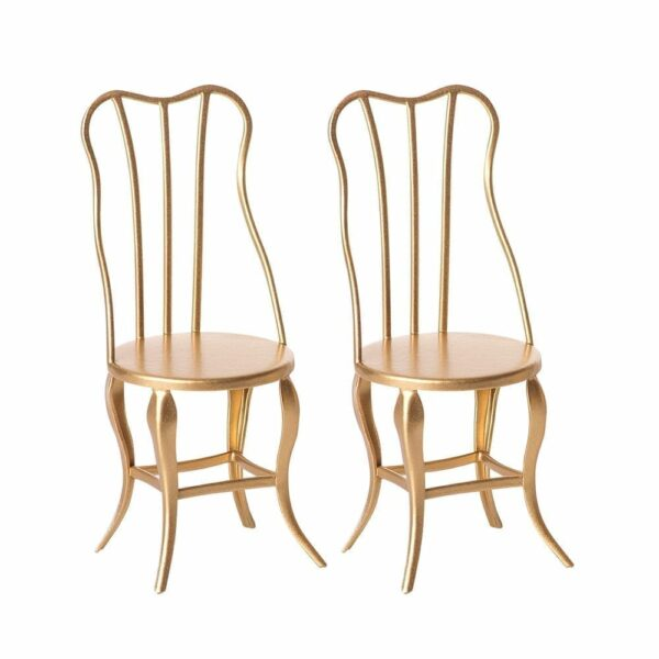 Maileg Vintage Chair, Micro Gold, 2 pack 11-8103-00