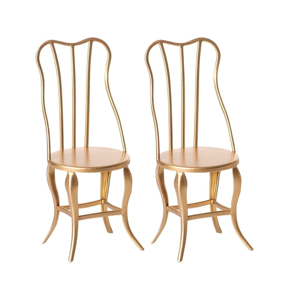 Maileg – Vintage Chair, Micro Gold – 2 pack – 10 cm