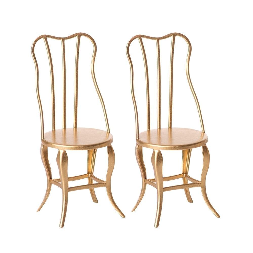 Vintage Micro Stühle, Gold 2 pack – 10 cm