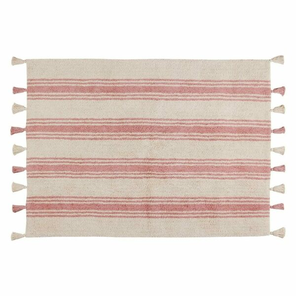Lorena Canals - Washable Rug - Stripes - Coral Pink