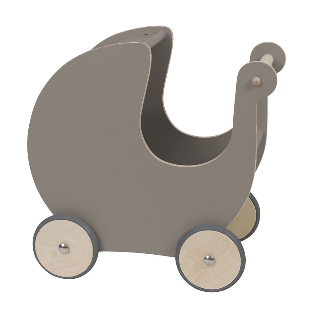Puppenwagen aus Holz – Grau