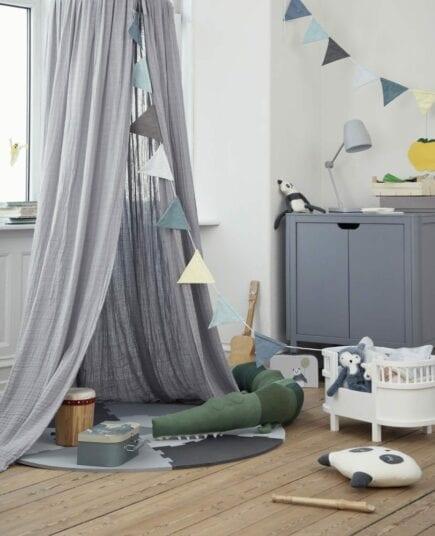 Sebra commode with Canopy in elephant grey