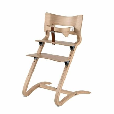 Leander - High Chair (natural) with Safety Bar and Leather Strap (brown)