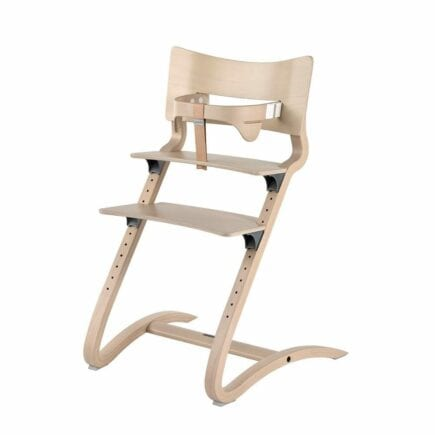 Leander - High Chair (whitewash) with Safety Bar and Leather Strap (natural)