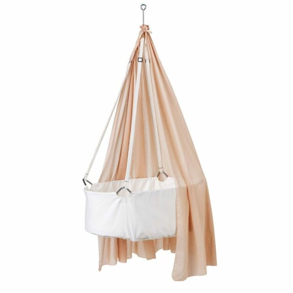 Leander - Hanging Cradle white with soft pink canopy