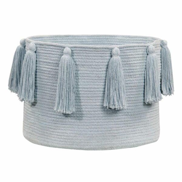 Lorena Canals - Tassels Basket - Soft Blue - 30 x ø 45 cm