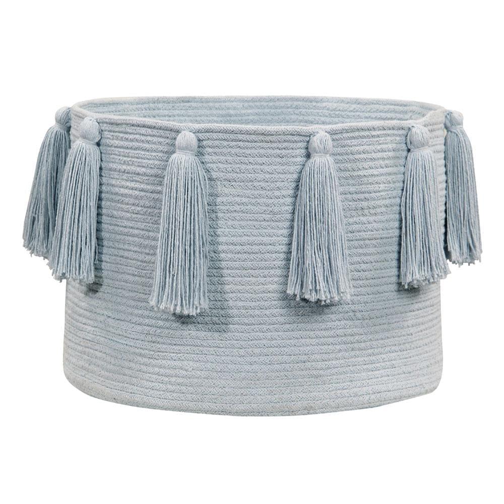 Opbergmand Tassels – Soft Blue – 30 x ø 45 cm