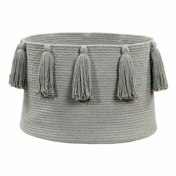 Lorena Canals - Tassels Basket - Light Grey - 30 x ø 45 cm