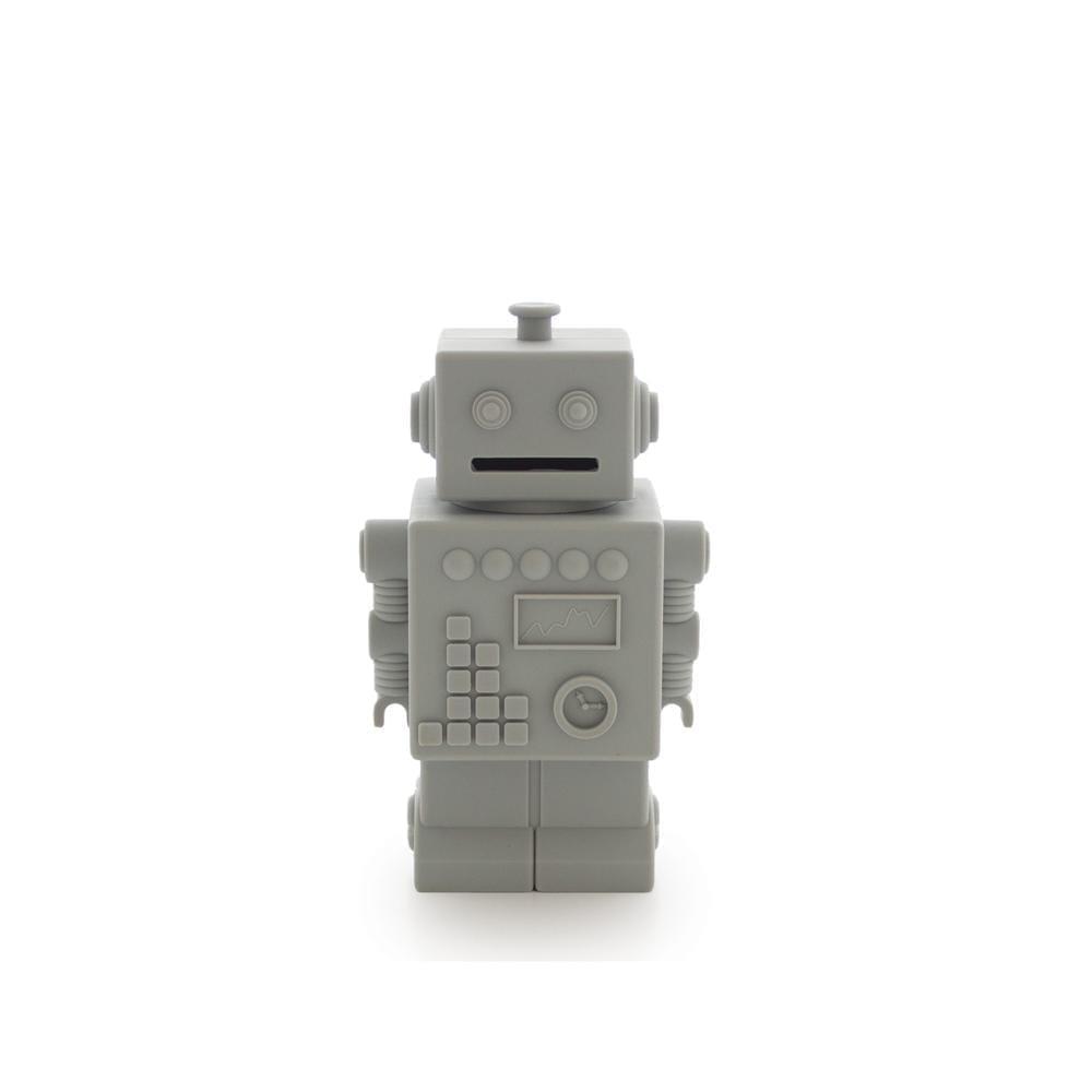 Robot Piggy Bank - Light Grey
