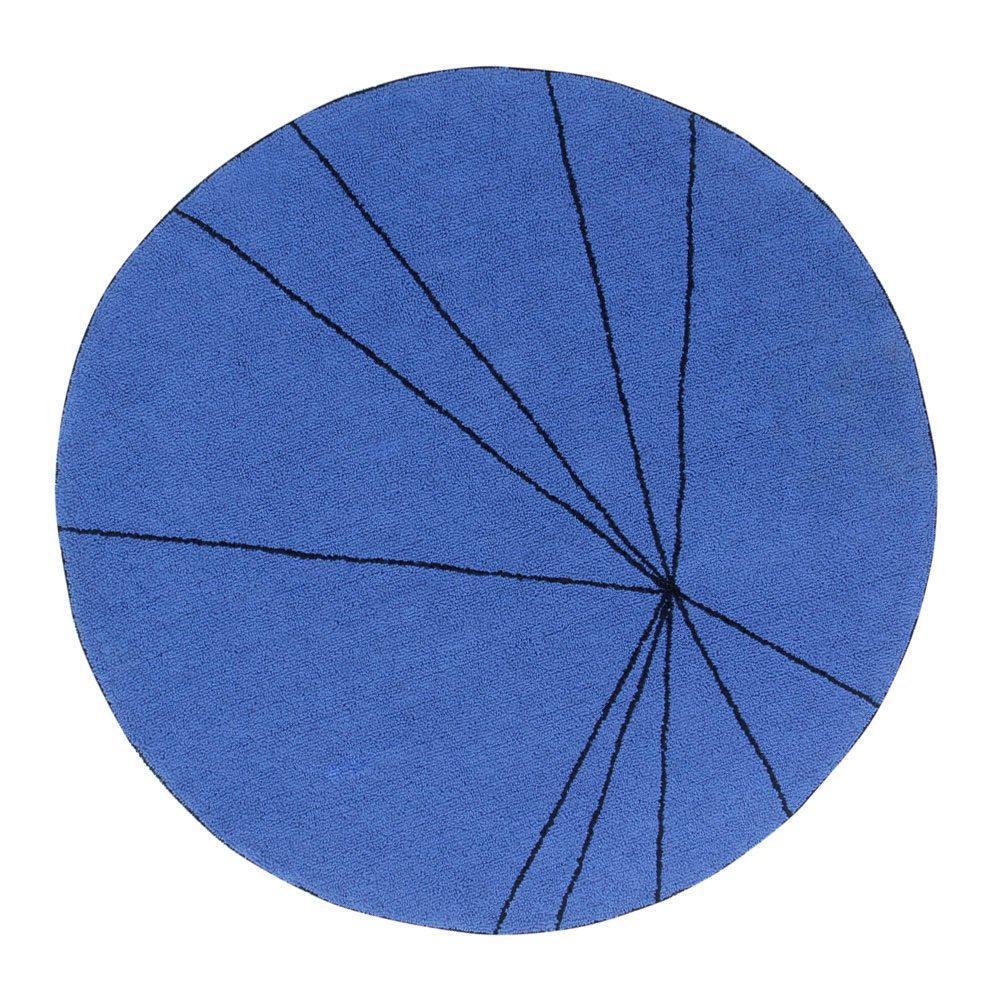 Lorena Canals – Round Rug – Trace – Blue – ø 160 cm