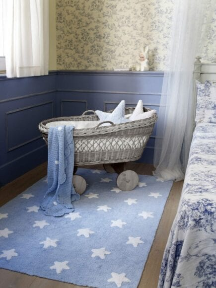 Lorena Canals - Wasbaar Vloerkleed - Stars - Blue/White Stars