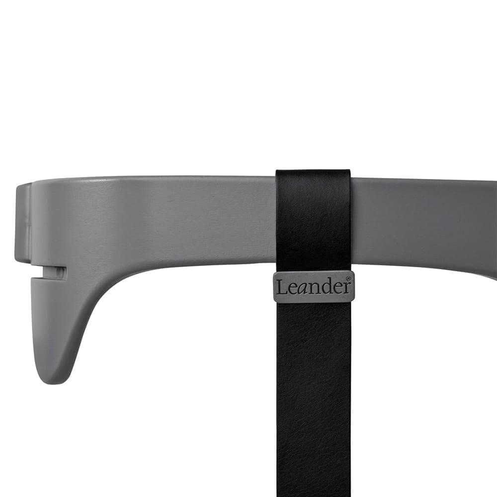 Leander - High Chair, Safety Bar Grey + Strap Black