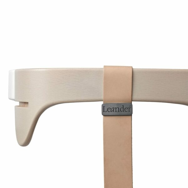 Leander - High Chair, Safety Bar Whitewash + Leather Strap Natural