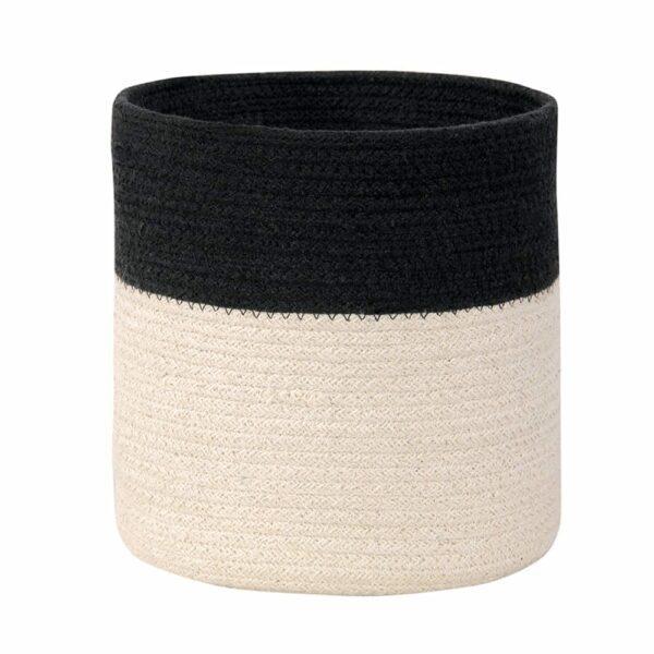 Lorena Canals - Washable Basket - Dual - Black/Natural - 22 x Ø 21 cm