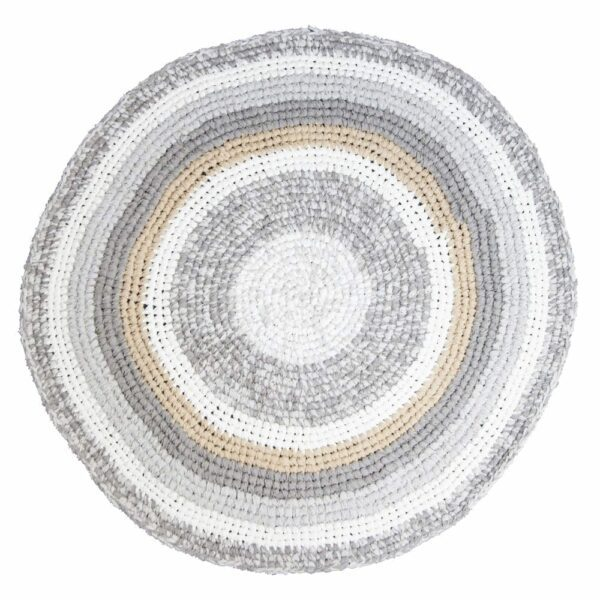 Sebra Round Croched Floor Mat feather beige melange