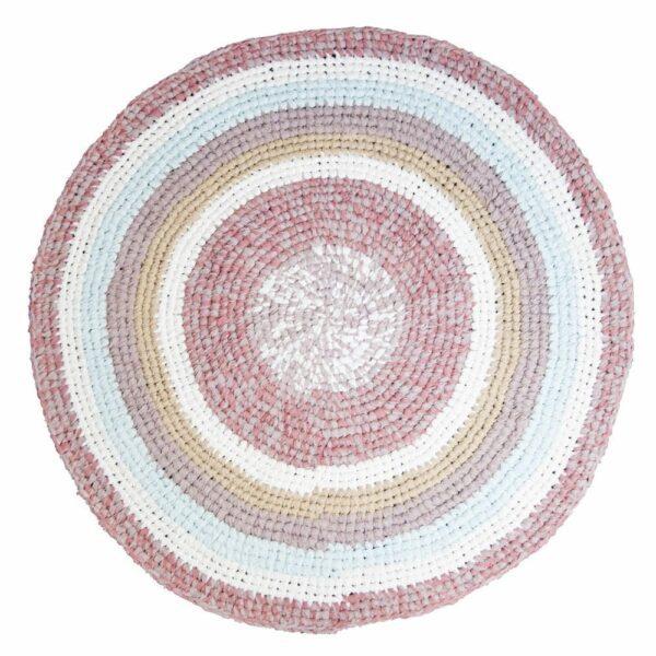 Sebra Round Croched Floor Mat powder rose melange