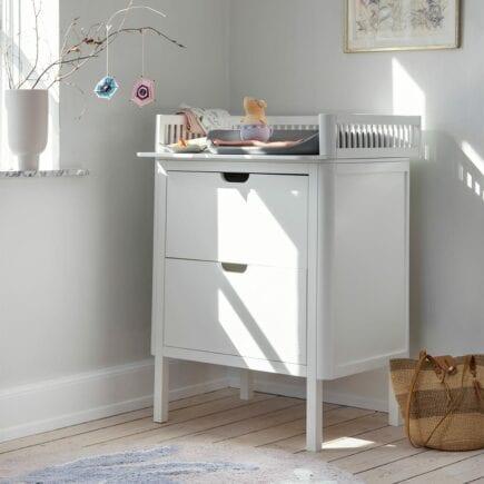 Sebra Dresser with changing unit 2 drawers classic white lifestyle