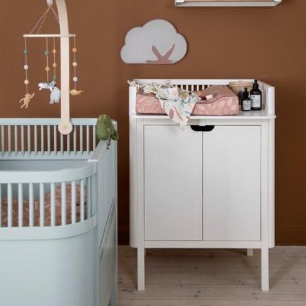 Sebra Dresser with changing unit 2 doors classic white lifestyle