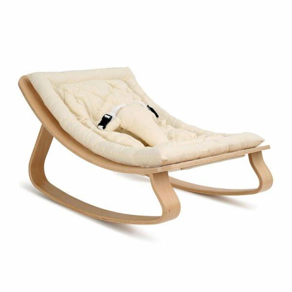 Baby-rocker-LEVO-Beech-met-organic-white-seat