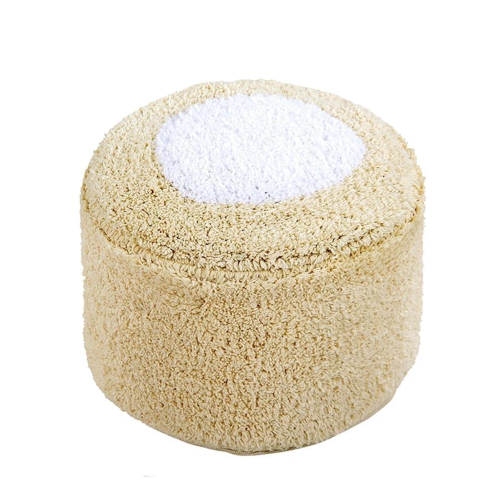 Lorena Canals – Waschbarer Pouf – Marshmallow Rund – Vanilla – 18 x Ø 27