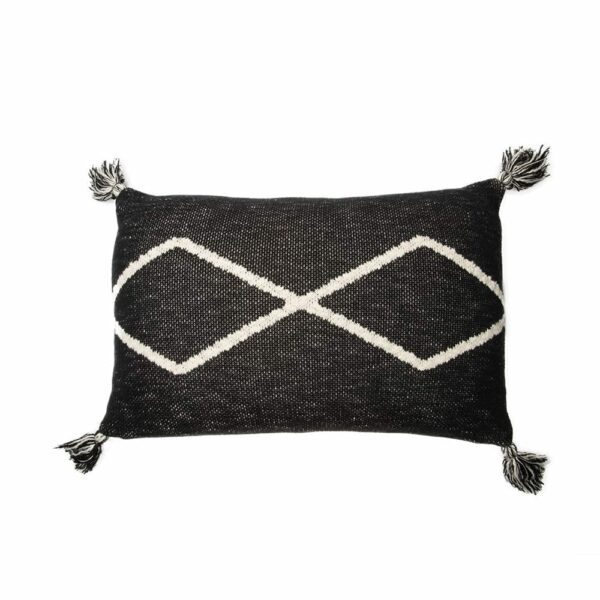Lorena Canals - Knitted Cushion - Oasis Black - 30 x 48 cm