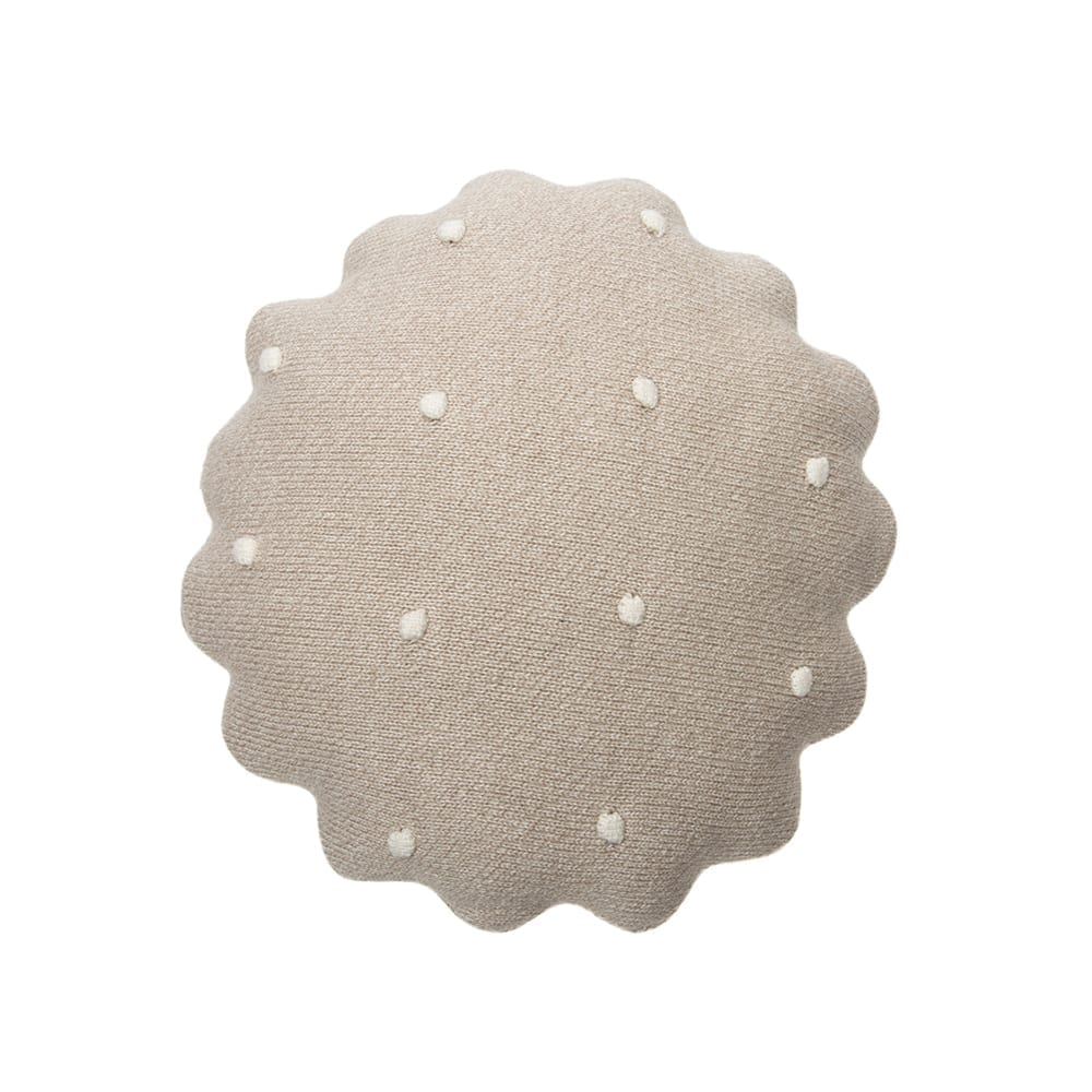 Lorena Canals - Knitted Cushion - Round Biscuit Dune White - 25 x 25 cm