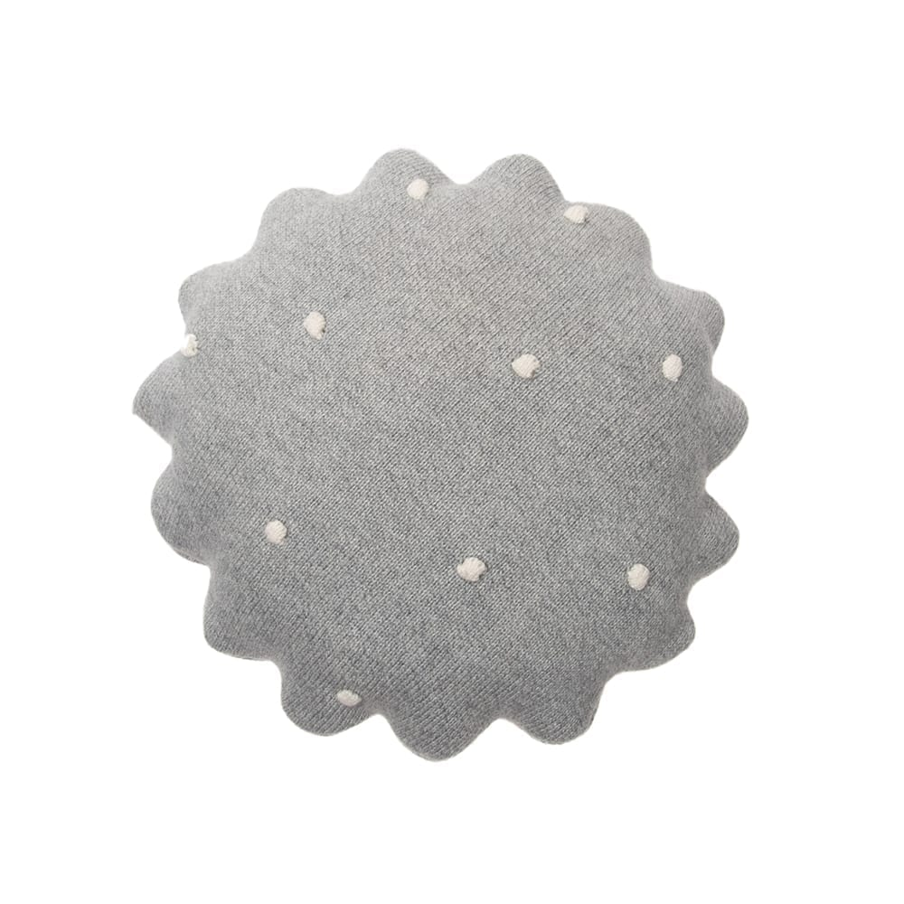 Lorena Canals - Knitted Cushion - Round Biscuit Grey - 25 x 25 cm