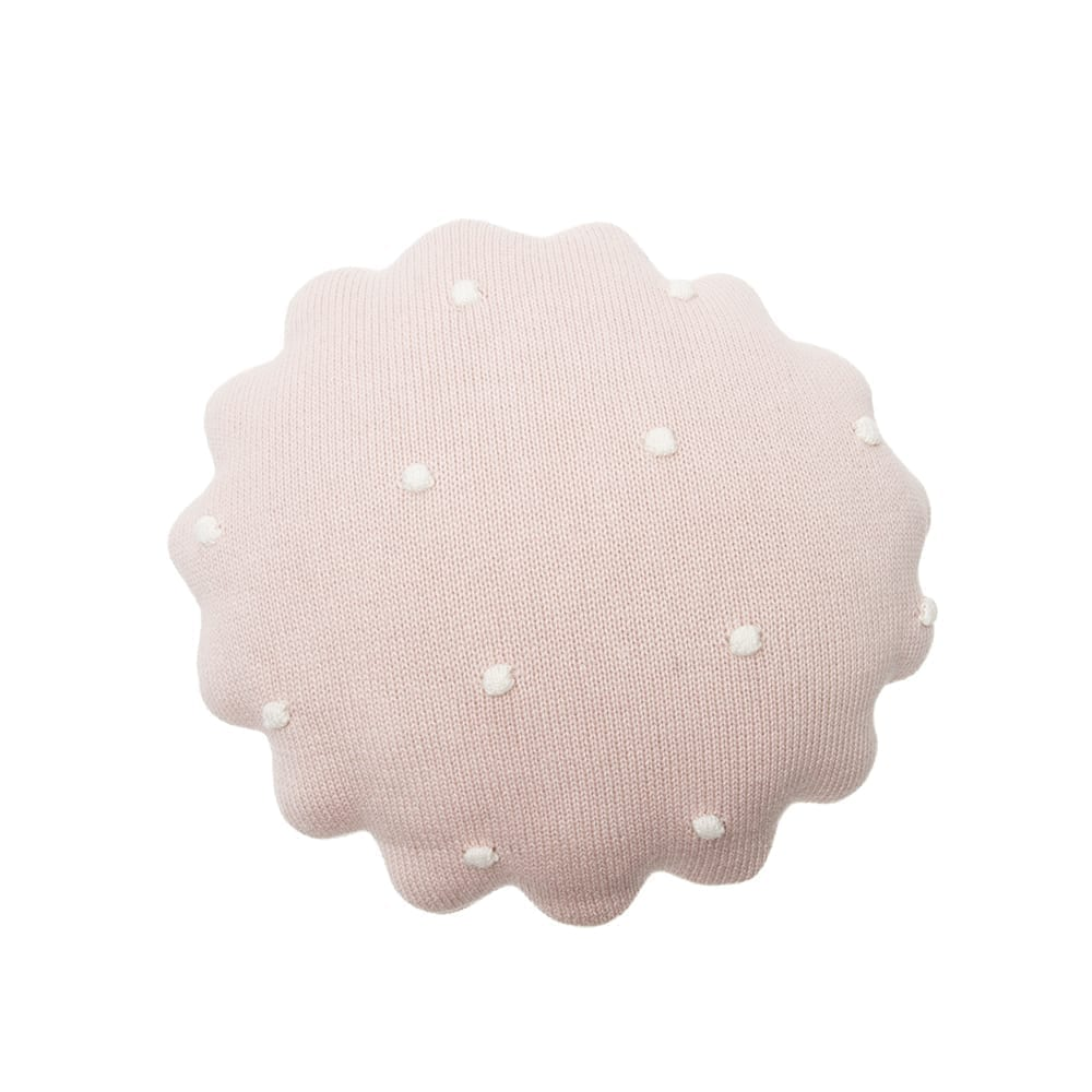 Lorena Canals - Knitted Cushion - Round Biscuit Pink Pearl - 25 x 25 cm