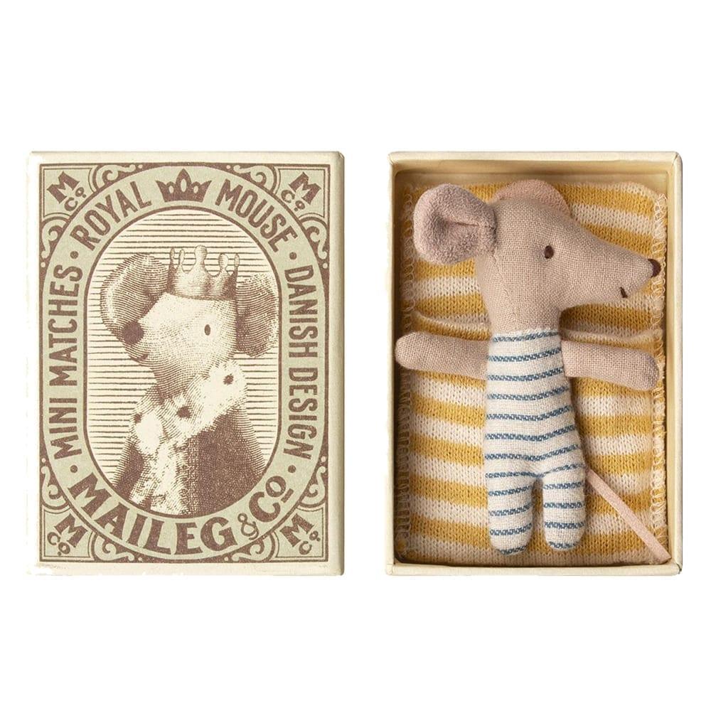 Maileg – Baby Mouse Sleepy/Wakey, Boy – in Matchbox – 8 cm