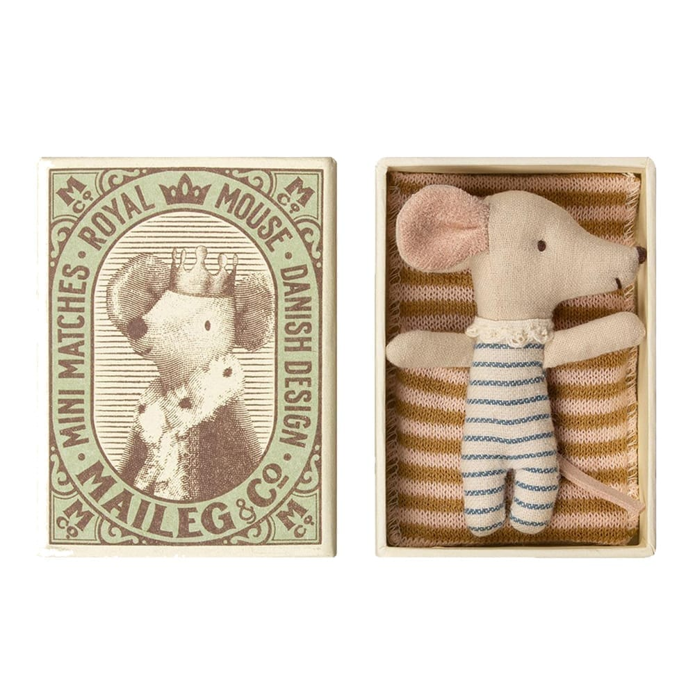 Baby Mouse Sleepy/Wakey, Boy – in Matchbox – 8 cm