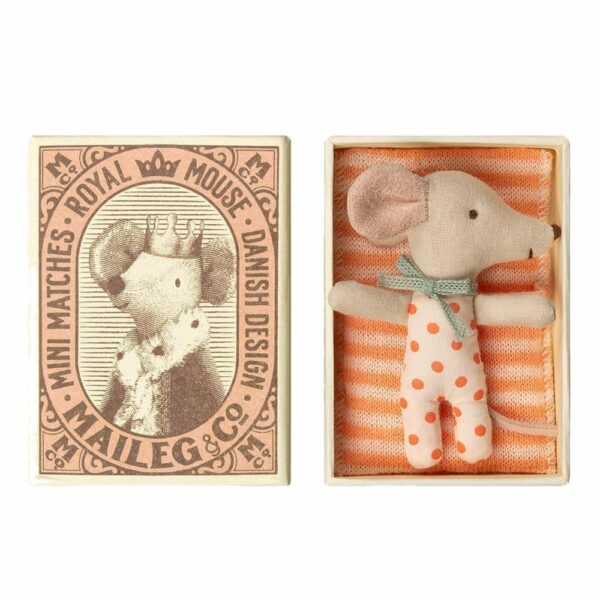 Maileg Baby Mouse Sleepy Wakey in Box Girl 16-9710-01
