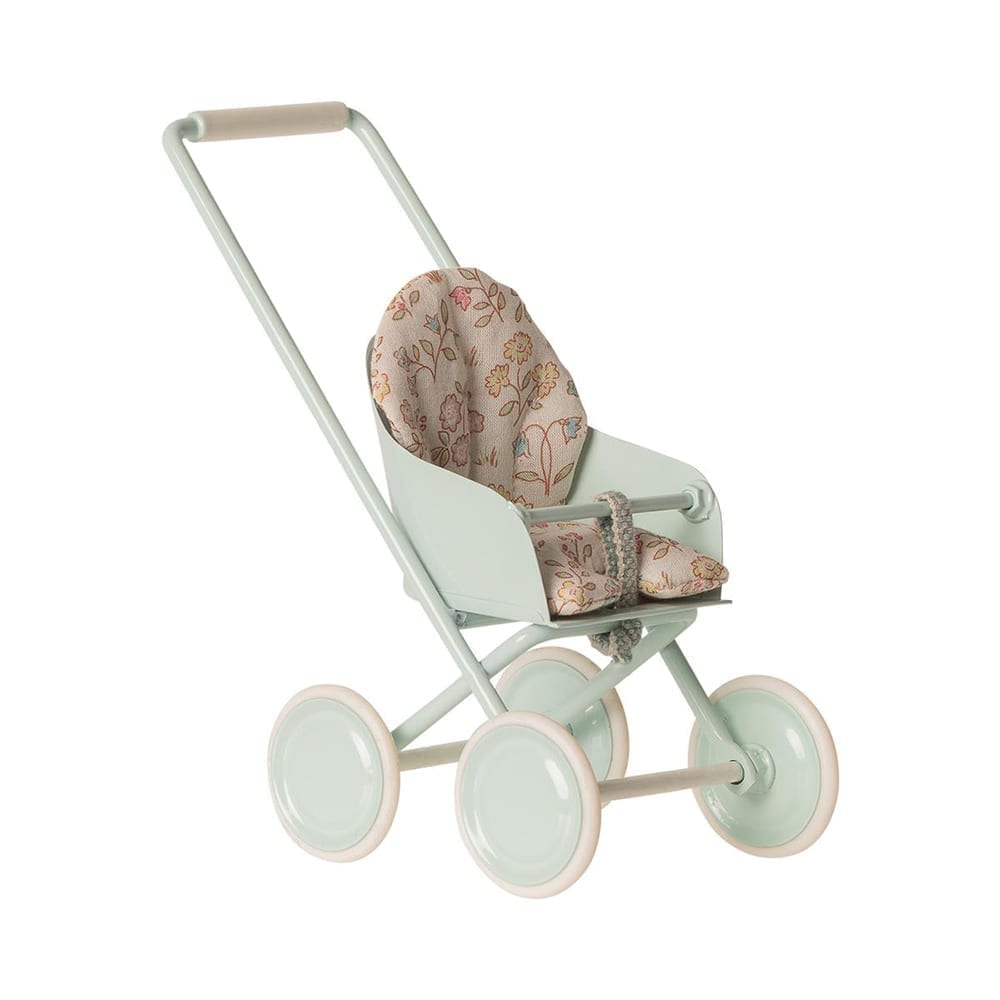 Maileg – Micro Stroller, Sky Blue – 14 cm