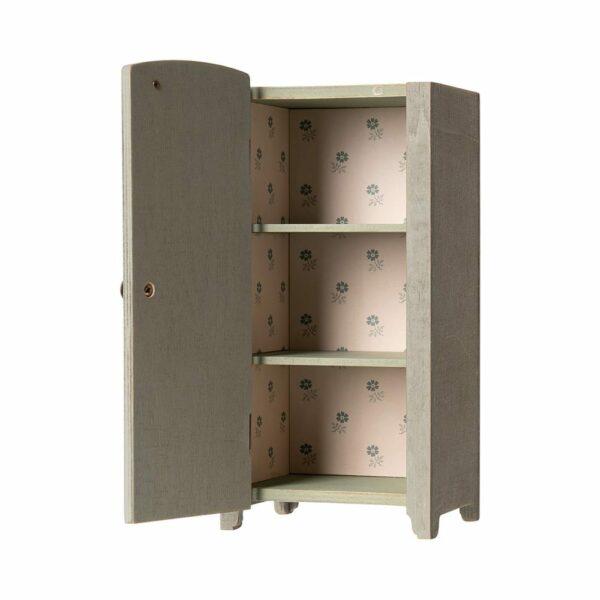 Maileg Vintage Closet w. shelves, Mini Mint Grey 11-9001-00