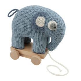 Crochet Pull-along Toy, Elephant – Powder Blue