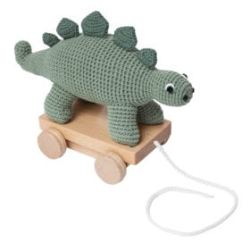Crochet Pull-along Toy, Dino – Green