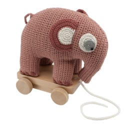 Crochet Pull-along Toy, Elephant – Blossom Pink