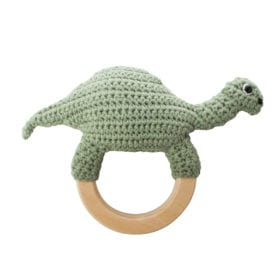 Babyrassel gehäkelt, Dino auf dem Ring